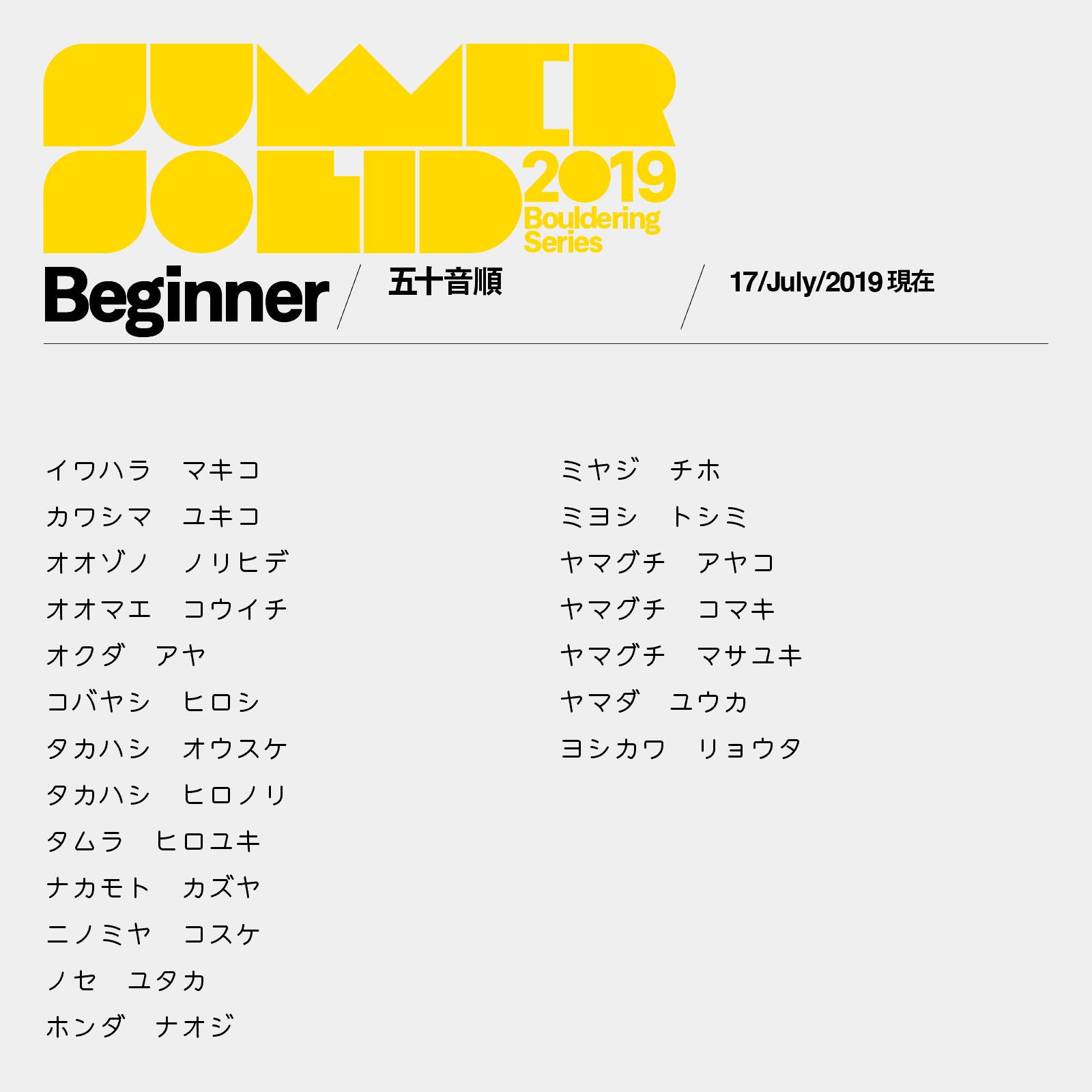 サマソリbeginnerカテゴリ参加者リスト