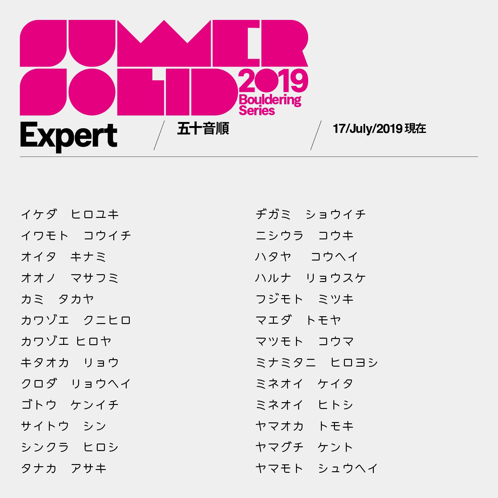 サマソリExpertカテゴリ参加者リスト