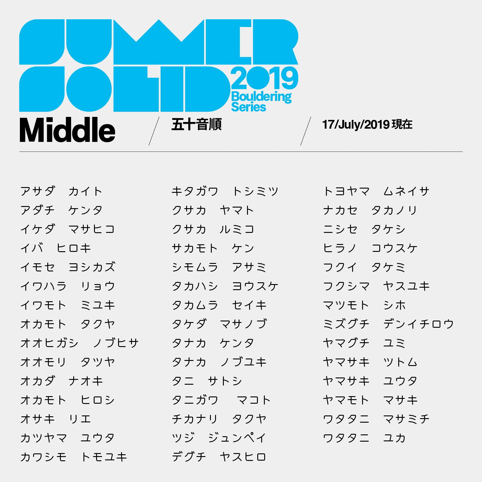 サマソリMiddleカテゴリ参加者リスト