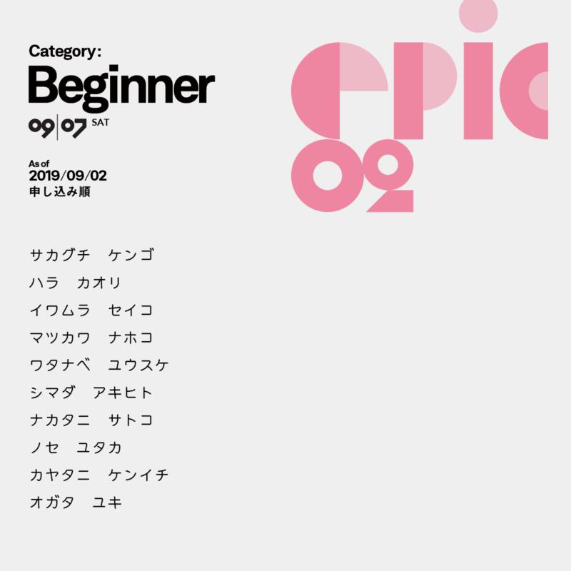 Beginnerカテゴリー参加者リスト