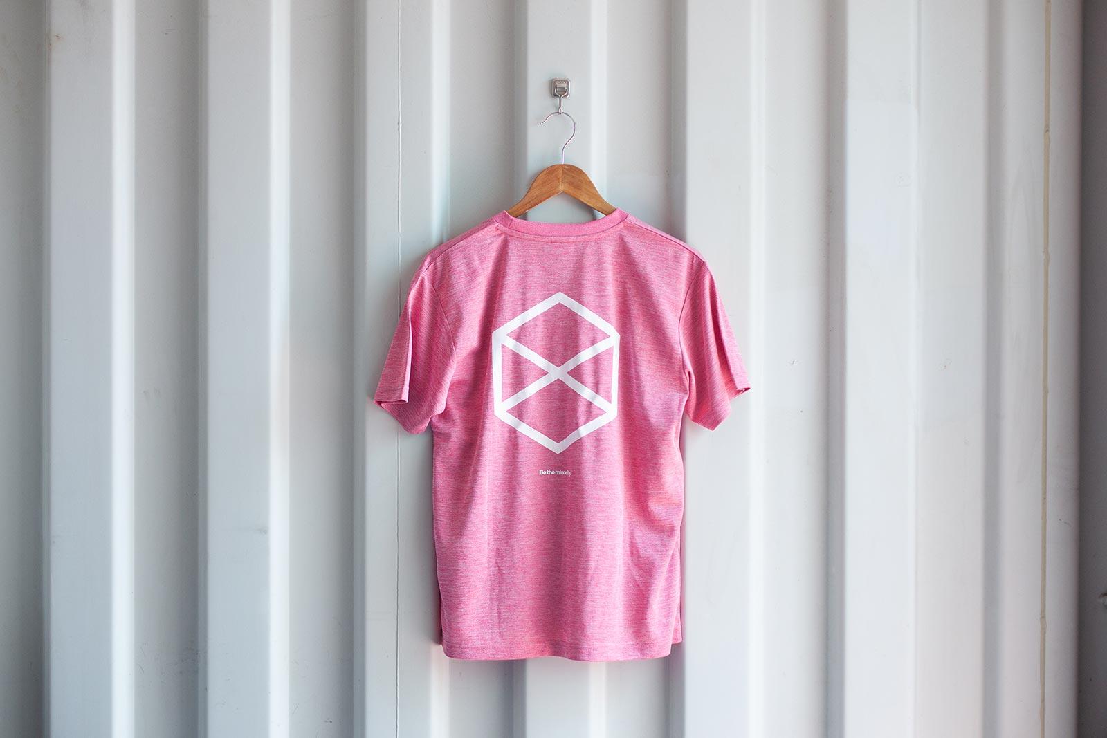 ミノリテロゴTシャツ/ヘザーピンク背面